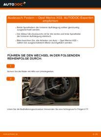 Wie der Wechsel durchführt wird: Federn 1.7 CDTI (E75) Opel Meriva x03 tauschen