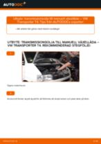 Växellådsolja och differentialolja VW Transporter IV Minibuss (70B, 70C, 7DB, 7DK, 70J, 70K, 7DC, 7DJ) | PDF instruktioner för utbyte