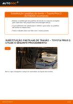 Como mudar e ajustar Calços de travão TOYOTA PRIUS: tutorial pdf