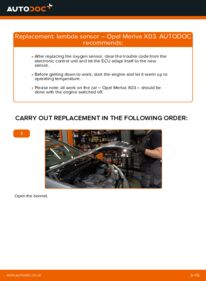 How to carry out replacement: Lambda Sensor on 1.7 CDTI (E75) Opel Meriva x03