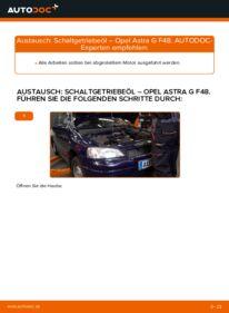 Wie der Wechsel durchführt wird: Getriebeöl und Verteilergetriebeöl 1.6 16V (F08, F48) Opel Astra G CC tauschen