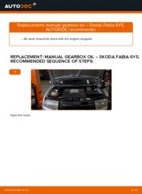 How to carry out replacement: Gearbox Oil and Transmission Oil on 1.4 16V Skoda Fabia 6y5