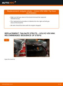How to carry out replacement: Tailgate Struts on 2.0 D Volvo v50 mw