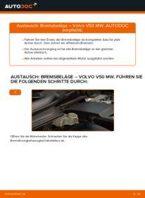 Wie der Wechsel durchführt wird: Bremsbeläge 2.0 D Volvo v50 mw tauschen