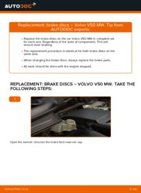 How to carry out replacement: Brake Discs on 2.0 D Volvo v50 mw