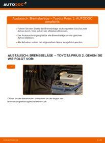 Wie der Wechsel durchführt wird: Bremsbeläge Toyota Prius 2 1.5 (NHW2_) 1.5 Hybrid (NHW2_) 1.5 (NHW2_) tauschen