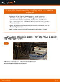 Wie der Wechsel durchführt wird: Bremsscheiben Toyota Prius 2 1.5 (NHW2_) 1.5 Hybrid (NHW2_) 1.5 (NHW2_) tauschen