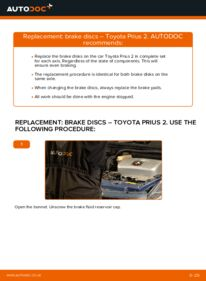 How to carry out replacement: Brake Discs on 1.5 (NHW2_) Toyota Prius 2