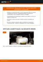 Tutorial passo a passo em PDF sobre a substituição de Discos de Travão no TOYOTA AURIS (NRE15_, ZZE15_, ADE15_, ZRE15_, NDE15_)