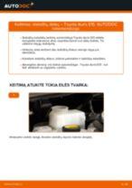Kaip pakeisti ir sureguliuoti Rėmas, stabilizatoriaus tvirtinimas TOYOTA AURIS: pdf pamokomis