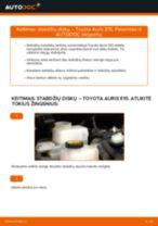 Kaip pakeisti Toyota Auris E15 stabdžių diskų: galas - keitimo instrukcija