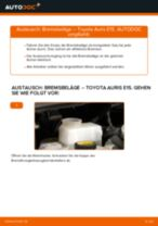 Schritt-für-Schritt-PDF-Tutorial zum Bremsbeläge-Austausch beim TOYOTA AURIS (NRE15_, ZZE15_, ADE15_, ZRE15_, NDE15_)