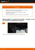 Comment changer et régler Kit de plaquettes de frein CITROËN C1 : tutoriel pdf