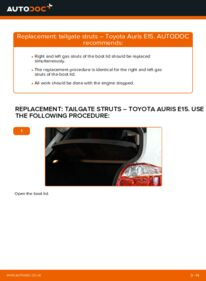 How to carry out replacement: Tailgate Struts on 1.4 D-4D (NDE150_) Toyota Auris E15