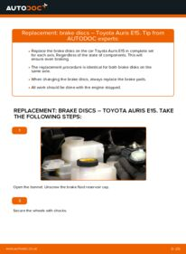 How to carry out replacement: Brake Discs on 1.4 D-4D (NDE150_) Toyota Auris E15
