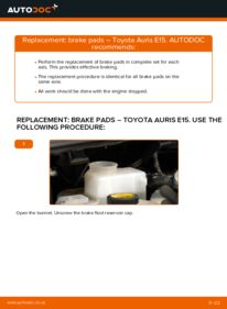 How to carry out replacement: Brake Pads on 1.4 D-4D (NDE150_) Toyota Auris e15