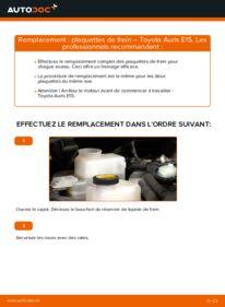 Comment effectuer un remplacement de Plaquettes de Frein sur 1.4 D-4D (NDE150_) Toyota Auris e15