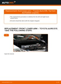 How to carry out replacement: Control Arm on 1.4 D-4D (NDE150_) Toyota Auris e15