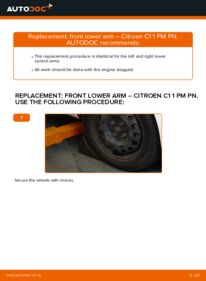 How to carry out replacement: Control Arm on 1.0 CITROËN C1 (PM_, PN_)