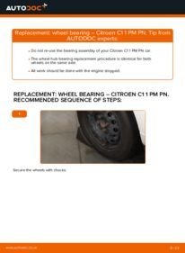 How to carry out replacement: Wheel Bearing on 1.0 CITROËN C1 (PM_, PN_)