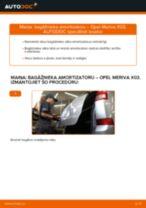 Kā nomainīt aizmugurē kreisais labais Piekare OPEL MERIVA - instrukcijas tiešsaistes