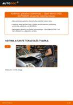 Kaip pakeisti Opel Meriva X03 pakabos statramstis: priekis - keitimo instrukcija