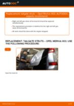 How to change tailgate struts on Opel Meriva X03 – replacement guide