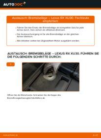 Wie der Wechsel durchführt wird: Bremsbeläge Lexus RX XU30 3.3 400h AWD 3.0 3.3 400h tauschen