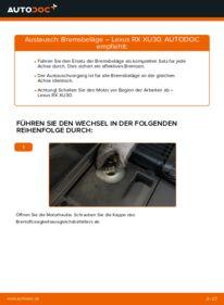 Wie der Wechsel durchführt wird: Bremsbeläge 3.3 400h AWD Lexus RX XU30 tauschen