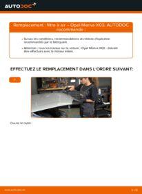 Comment effectuer un remplacement de Filtre à Air sur 1.7 CDTI (E75) Opel Meriva x03