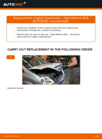 How to carry out replacement: Thermostat on 1.7 CDTI (E75) Opel Meriva x03