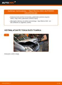Kaip atlikti keitimą: 1.7 CDTI (E75) Opel Meriva x03 Thermostat