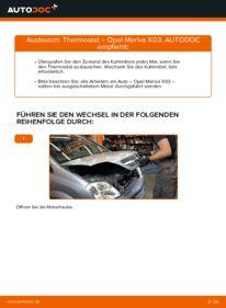Wie der Wechsel durchführt wird: Thermostat 1.7 CDTI (E75) Opel Meriva x03 tauschen