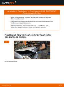 Wie der Wechsel durchführt wird: Stoßdämpfer 1.7 CDTI (E75) Opel Meriva x03 tauschen