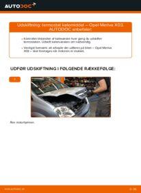 Hvordan man udfører udskiftning af: Termostat på 1.7 CDTI (E75) Opel Meriva x03
