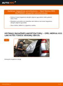 Kaip atlikti keitimą: 1.7 CDTI (E75) Opel Meriva x03 Bagazines Amortizatorius