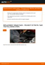 How to replace and adjust Brake pad set PEUGEOT 107: pdf tutorial