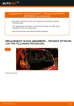 Step by step PDF-tutorial on Shock Absorber PEUGEOT 107 replacement
