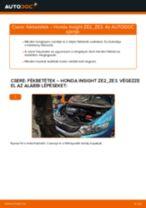 Hogyan cseréje és állítsuk be Dobfék fékpofa HONDA INSIGHT: pdf útmutató