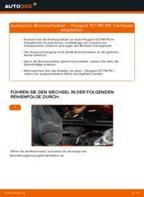 Wie der Wechsel durchführt wird: Bremsscheiben PEUGEOT 107 1.0 1.4 HDi 1.0 tauschen