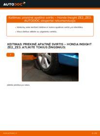 Kaip atlikti keitimą: 1.3 Hybrid (ZE28, ZE2) Honda Insight ZE2/ZE3 Vikšro Valdymo Svirtis