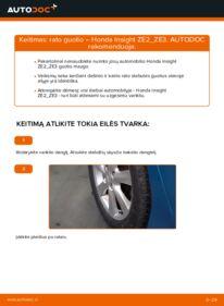 Kaip atlikti keitimą: 1.3 Hybrid (ZE28, ZE2) Honda Insight ZE2/ZE3 Rato guolis