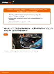 Kaip atlikti keitimą: 1.3 Hybrid (ZE28, ZE2) Honda Insight ZE2/ZE3 Stabdžių Kaladėlės