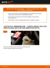 Wie der Wechsel durchführt wird: Bremsbeläge 1.3 Hybrid (ZE28, ZE2) Honda Insight ZE2/ZE3 tauschen