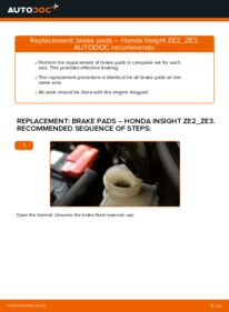 How to carry out replacement: Brake Pads on 1.3 Hybrid (ZE28, ZE2) Honda Insight ZE2/ZE3
