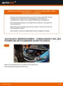 Wie der Wechsel durchführt wird: Bremsscheiben Honda Insight ZE2/ZE3 1.3 Hybrid (ZE28, ZE2) 1.3 Hybrid (ZE2) 1.5 Hybrid (ZE3) tauschen