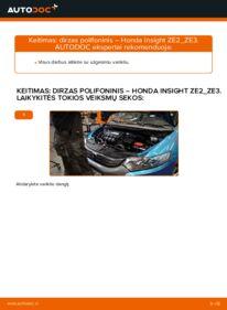 Kaip atlikti keitimą: 1.3 Hybrid (ZE28, ZE2) Honda Insight ZE2/ZE3 V formos rumbuotas diržas