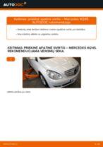 Kaip pakeisti Mercedes W245 priekinė apatinė svirtis - keitimo instrukcija