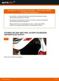 Wie der Wechsel durchführt wird: Heckklappendämpfer B 180 CDI 2.0 (245.207) Mercedes W245 tauschen