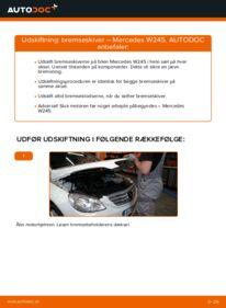 Hvordan man udfører udskiftning af: Bremseskiver på B 180 CDI 2.0 (245.207) Mercedes W245